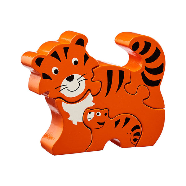 5 piece wooden puzzle with orange, black and white tiger and baby tiger