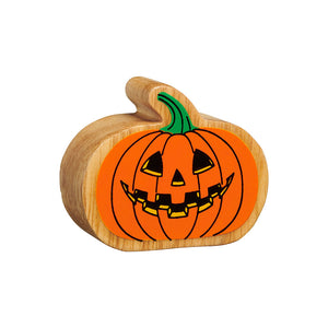 wooden pumpkin toy with painted orange details, green stalk and jack o'lantern face