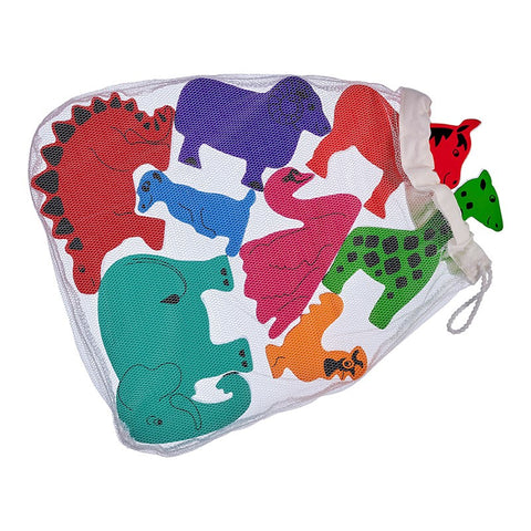 Red, orange, yellow, green, blue, turquoise, purple and pink wooden animals in a drawstring net bag