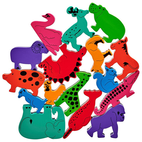 2 sets of red, orange, yellow, green, blue, turquoise, purple and pink wooden animals  stacked on top of each other