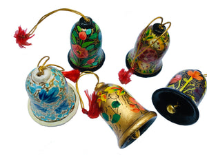 Hand painted papier-mache Christmas baubles - hanging bells
