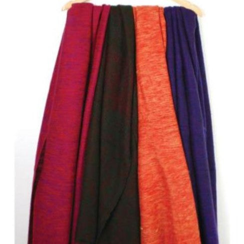 4 fair trade recycled wool shawls hanging from a wooden coat hanger. They are shades of purple blue, orange and black.