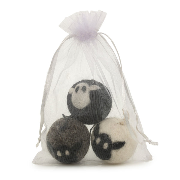 Set of three round sheep baubles in a see-through white organza bag