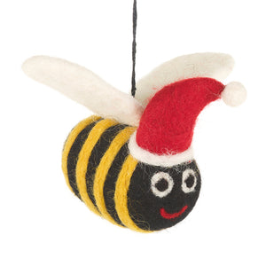 Black felt bee decoration with yellow stripes, white wings and a red Santa hat