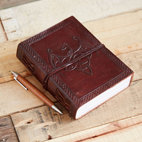 Indra Leather Journal. Celtic Winged Dragon.