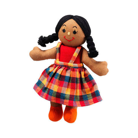 Lanka Kade Rag Doll - girl doll with brown skin and black hair