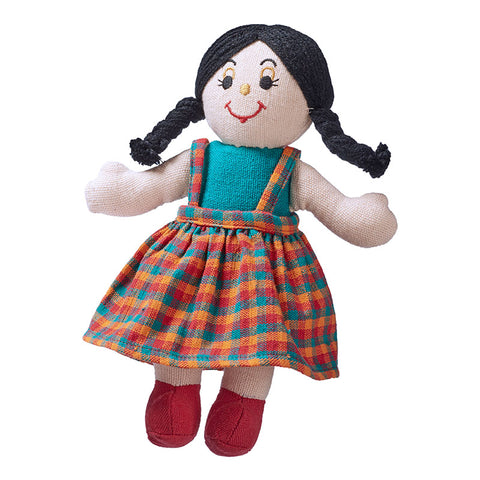 Lanka Kade Rag Doll - girl doll with white skin and black hair