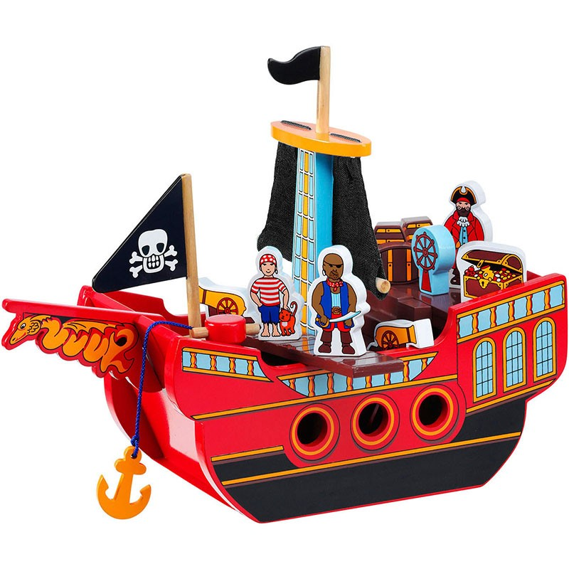 A red pirate ship with yellow and black trim and sails and three pirate figures as well as a range of moveable accessories