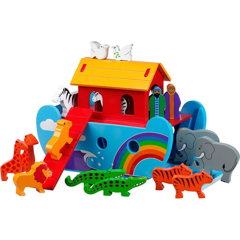 A blue ark with clouds, a wave and a rainbow on the sides with a red ramp and deck and yellow roof. There are a variety of pairs of animals and Mr and Mrs Noah on the ark