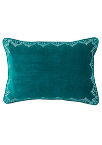 Sea green rectangular velvet cushion with silver embroidery around the edge on a white background
