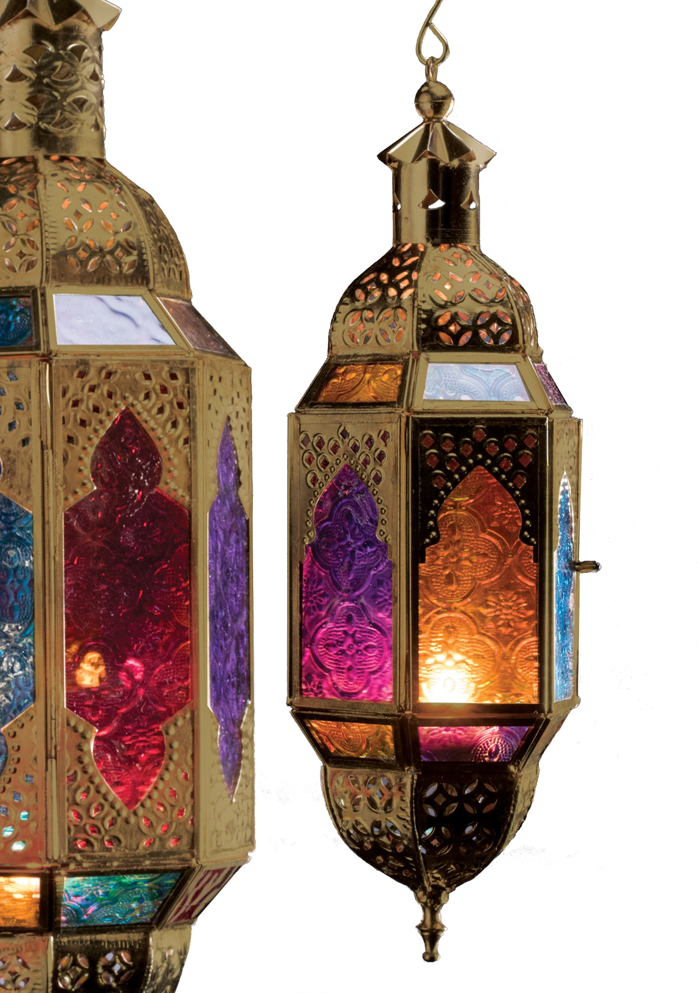 Gold coloured metalwork lantern with multicolour glass panels illuminated by a t-light on a white background