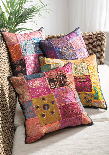 Recycled sari patchwork cushion