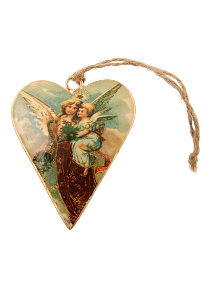 A heart shaped Christmas decoration showing a vintage picture of an angel carrying a cherub. Main colours are maroon and green