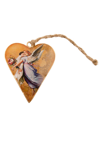 A heart shaped Christmas decoration showing a vintage picture of an angel carrying a child. Main colours are white and gold