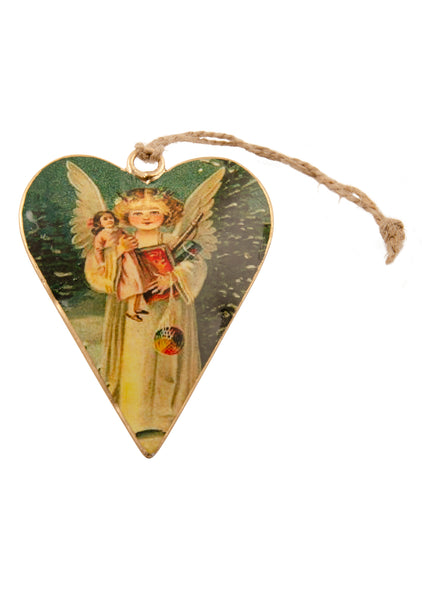 A heart shaped Christmas decoration showing a vintage picture of an angel carrying Christmas presents. Main colours are ivory and gold