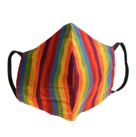 Fair Trade Washable Wired Face Mask - Rainbow Stripe Cotton