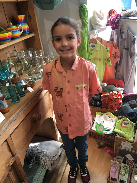 Children's organic cotton animal print shirts - Tiger