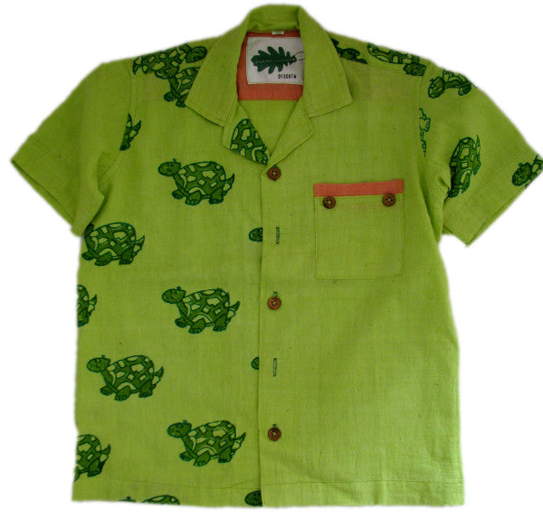 Children's organic cotton animal print shirts - Turtle