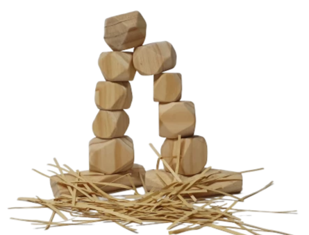 Natural Wooden Stones, 20 Pcs - Playfull Tribe Toys