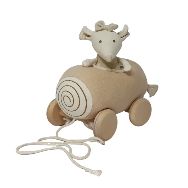 Organic Cotton Mouse-on-Wheels Plush Toy - Playfull Tribe Toys
