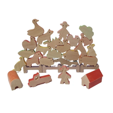 Balancing Animal Blocks - Farm Animals - Playfull Tribe Toys
