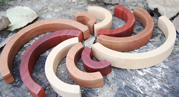 Natural Wooden Rainbow Tunnel, 10 Pcs - Playfull Tribe Toys