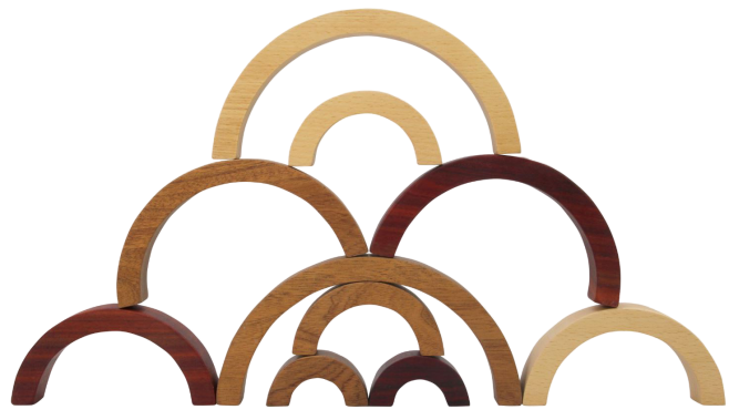Natural Wooden Rainbow Tunnel, 10 Pcs