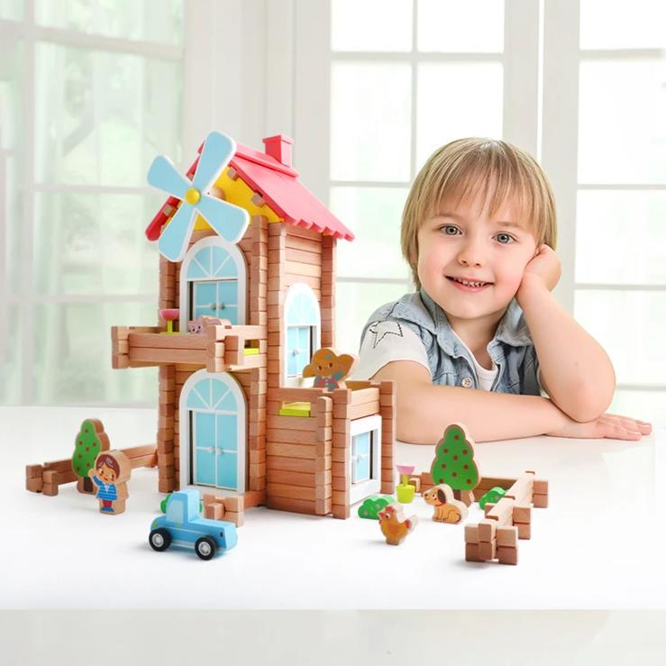 Log Builders Houses Series - Windmill House - Playfull Tribe Toys