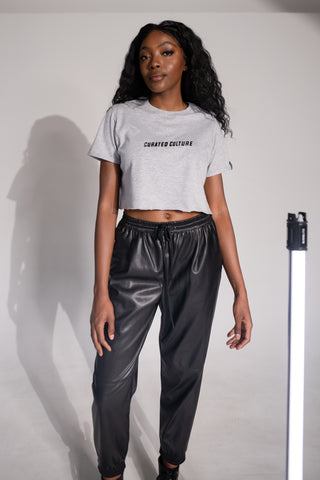 Curated Culture Crop Tee - Block Print
