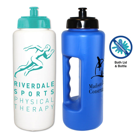 32 oz. Antimicrobial Grip Bottle with Push n' Pull Cap | Full Color Customization | Made in USA | 1-2 Weeks | Minimum is 1 Box of 90