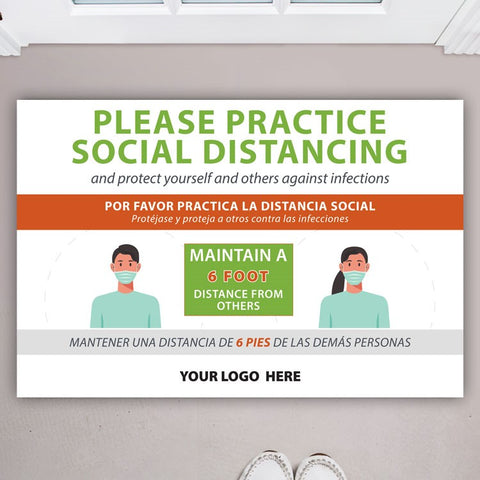 Practice Social Distancing Bilingual Floor Decal (USA MADE | 3 Days)