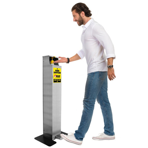 Floor Standing Foot Pedal Hand Sanitizer Dispenser | Full Color Customization | USA Made | 5-7 Days | Minimum Order is 1 Case of 2 Pieces