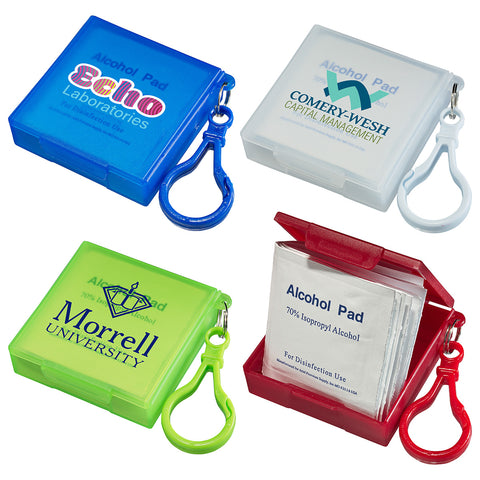 Handy Pack Sani-Wipes with Carabiner | 1 Color Customization | Made in China | 5-7 Days | Minimum is 1 Box of 250