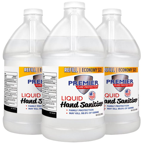 67.6 oz Premier Pure Hand Sanitizer Liquid Refill | No Customization | Made in USA | 20 Days | Minimum is 1 Box of 16