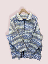 Load image into Gallery viewer, XL Vintage Long Fit Full Zip Cream Blue Fleece
