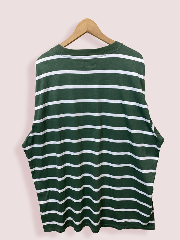 3XL GUESS GREEN STRIPED SPELLOUT TSHIRT - DURT