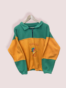 M Vintage Slalom Sport Orange Green Half Zip Ski Fleece