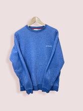 Load image into Gallery viewer, M Vintage Columbia Small Logo Blue Sweatshirt