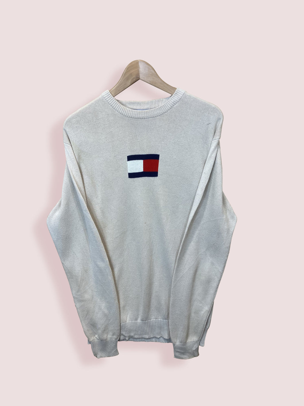 S Vintage Tommy Hilfiger Cream Knit Large Logo