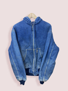 L Vintage Carhartt Lined Hooded Denim Jacket
