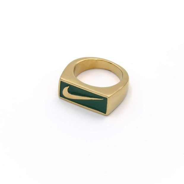 Swoosh Block Ring Gold / Green