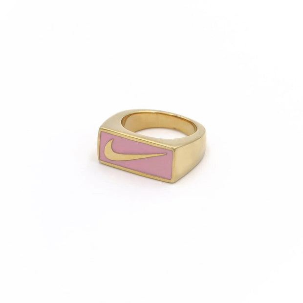 Swoosh Block Ring Gold / Pink