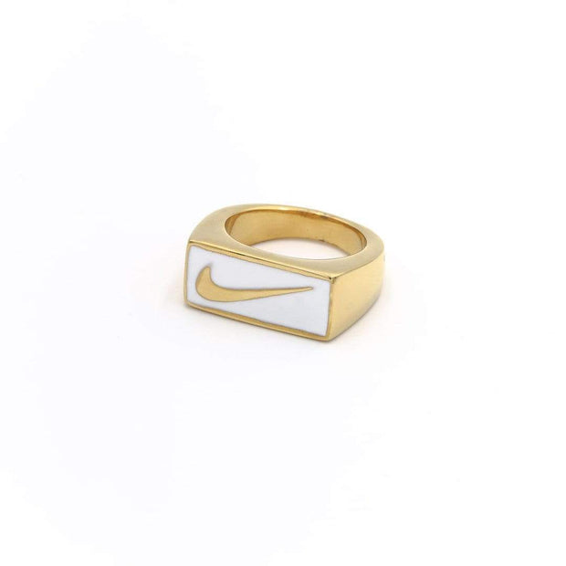 Swoosh Block Ring Gold / White