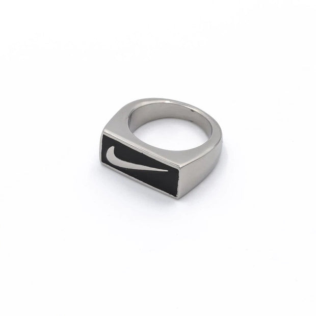 Swoosh Block Ring Silver / Black