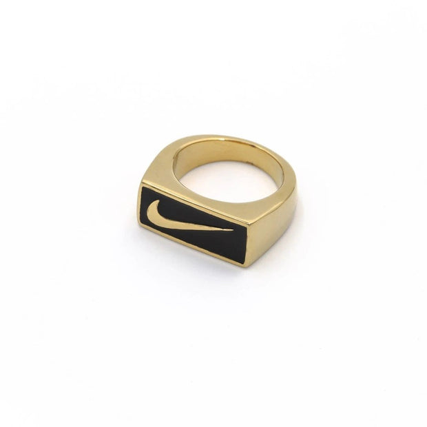 Swoosh Block Ring Gold / Black