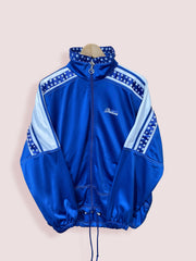 L 90s Diadora Full Zip Track Top with Patterened Shoulder Tape - DURT
