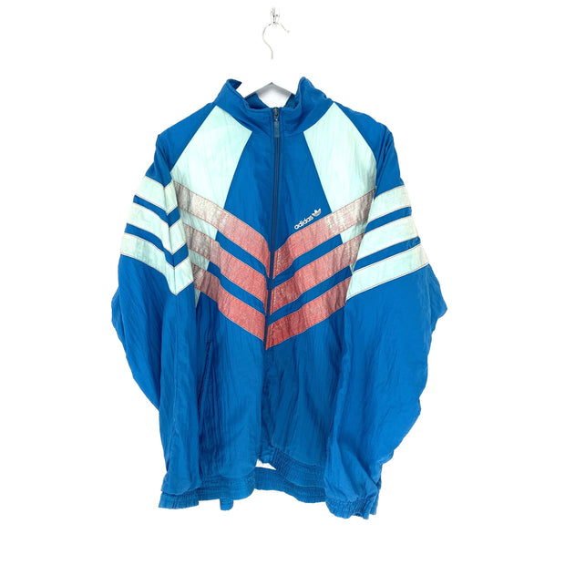 L Adidas Blue Vintage Small Logo Shell Jacket - DURT