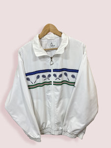 L Head Tennis Full Zip White Track Top - DURT