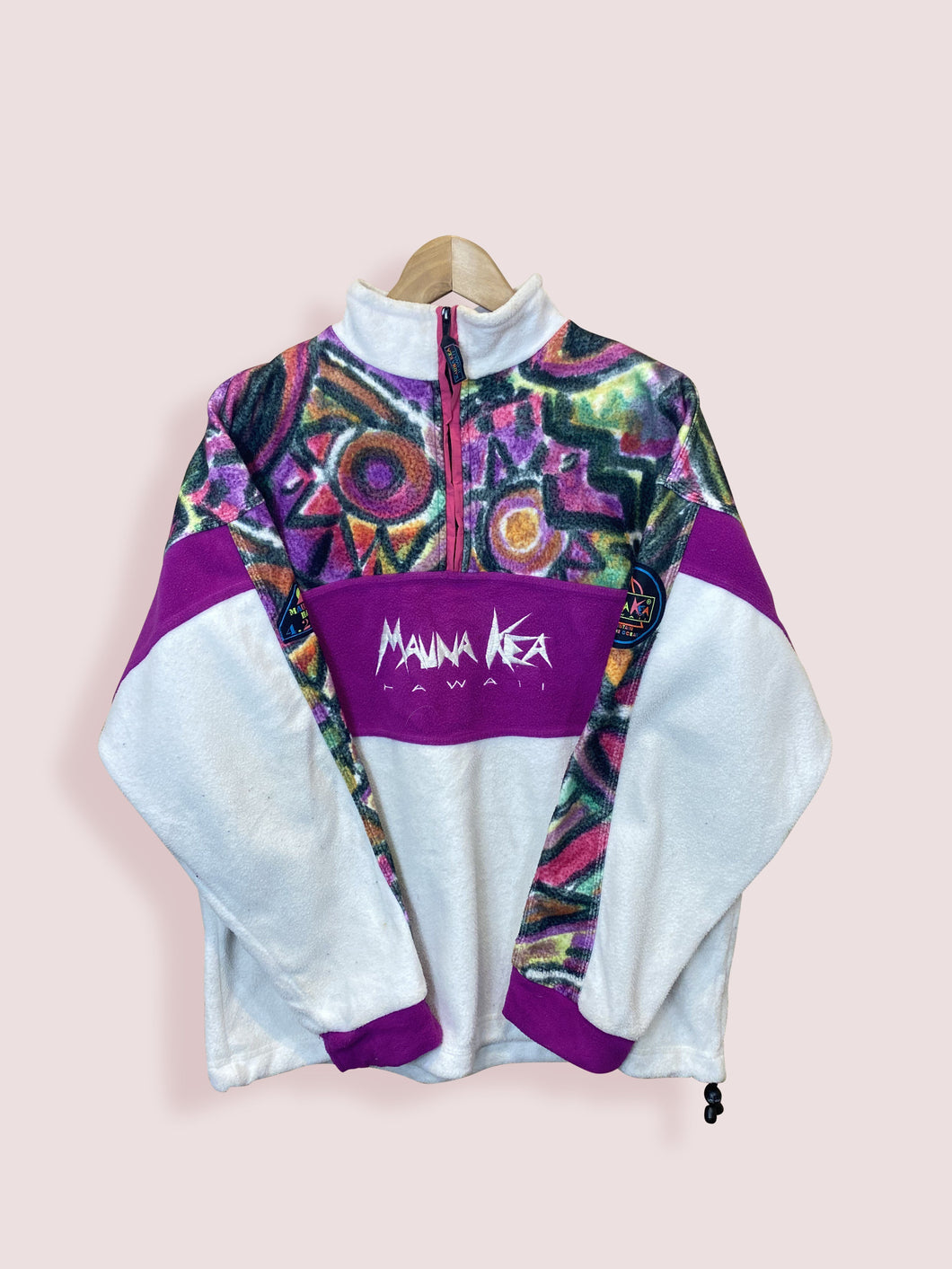 L Mauna Kea Cream Purple Half Zip Fleece - DURT
