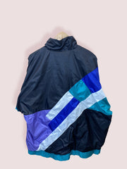 L Vintage Adidas Full Zip WIndbreaker Black Turquoise Blue - DURT